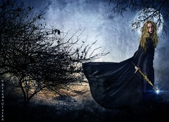 The Sorceress (~Brenda-Starr~) Tags: trees moon texture night woods witch magic allrightsreserved thesorceress june2016
