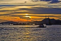 Stunning Habour Magic (briantang0703) Tags: sunset sea cloud mountain art water night hongkong boat exposure magic