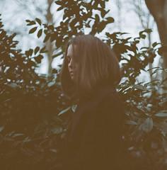 desolate spring (Christoph Hofbauer) Tags: pentacon six tl kodak portra 160 mediumformat 6x6 120mm analog film mist gray dark solitude cold blur calm gloomy girl portrait