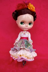 For Chui Cheng  Flores  (Kikihalb  Forest~Tales ) Tags: floral set mexico outfit clothing doll dress handmade folk embroidery sewing silk frida skirt clothes cotton ms ribbon blythe merry tight printed skier embroidered kahlo petticoat flounces