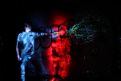 Mafia Light Painting (blackbird) Tags: blue light red lightpainting art colors canon rouge blood gun lumire couleurs tag fake bleu mafia murderer uzi saintnazaire miseenscne meurtrier