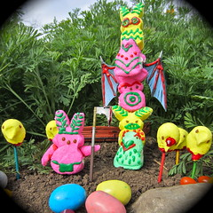 fearsome warrior (Black Cat Bazaar) Tags: pink bunny yellow warning easter war candy beware totem sugar flowerbed heads tribes eggs warrior chicks peeps jellybeans spikes diorama spyglass observations