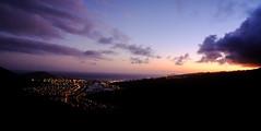 Dusk at Hawaii Kai (brettyboyk) Tags: ocean sunset sea panorama water night landscape hawaii long fuji oahu dusk hike fullmoon ridge fujifilm honolulu aloha hawaiikai kokohead 18mm mirrorless xpro1 kamehameridge fujifilmxpro1 18mmxfr fujifilm18mmxfr