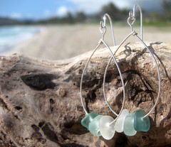IMG_7539 (LindseysBeachGlass) Tags: blue sea white green beach glass colors leather silver hawaii wire aqua handmade teal jewelry clear bracelet hawaiian earrings seaglass rarecolor olibe
