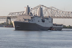 """USS Anchorage LPD 23 (Tom Pumphret) Tags: sea sports river photography action events ships neworleans mississippiriver usnavy seatrials bisso son"""" ussanchorage josephineann enbisso"""