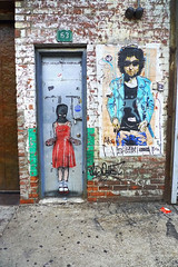 Nick Walker Street Art NYC (heathermariecarr) Tags: door nyc newyorkcity red streetart stencils art girl wall illustration painting graffiti shoes bobdylan spraypaint reddress nickwalker heathercarr heatherunderground
