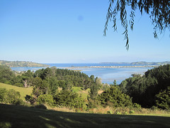 Omaha Bay (russelljsmith) Tags: blue friends sea newzealand summer vacation sky plants holiday color green water sunshine fun scenery hills bach nz omaha 2012 77285mm