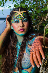 Looking for a Mermaid - Portrait (hfcnathan) Tags: tree beach leaves clouds star crown bodypainting mermaid nuage arbre plage feuilles couronne sirne toiledemer frenchguiana guyanefranaise
