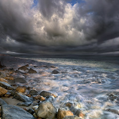 The Coast (Michael Lawenko dela Paz) Tags: ocean longexposure sunset sea storm beach water night coast gallery waves santamonica coastal shore beautifulsky dramaticclouds bodyofwater bestcapture