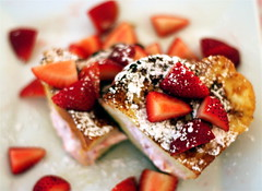 Stuffed French Toast with Berry Jam (mydailymorsel) Tags: cheese french stuffed strawberry berry toast cream custard bb jam rhubarb challah