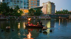 Drummers getting ready to light WaterFire