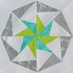 Block for QuiltyGirl2 (jenjohnston) Tags: green grey star aqua pinwheel quiltblock paperpieced quiltingbee