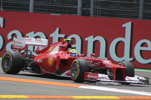 Felipe Massa in his Ferrari at the 2012 European Grand Prix in Valencia