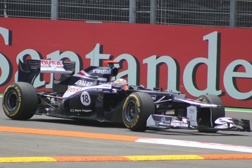 Pastor Maldonado in his Williams F1 car at the 2012 European Grand Prix, Valencia