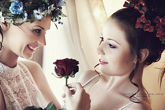 IMG_2241 ( Nina Larsen - ninazdesign) Tags: flowers blue friends red 2 roses two portrait cute beauty smile fashion hair soft friendship faces redrose curls romantic dreamy zdesign ninazdesign ninalarsen