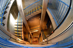 Fisheye view looking down four flights of stairs, Burrowing Owl Estate Winery, Oliver, British Columbia, Canada (cocoi_m) Tags: canada stairs oliver britishcolumbia fisheye lookingdown okanaganvalley fourflights burrowingowlestatewinery