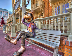Have a Seat (grandalloliver) Tags: vacation goofy canon orlando mainstreet florida magic sigma wideangle disney disneyworld 1020mm hdr magickingdom sigma1020mm photomatix rebelxsi canonxsi grandalloliver grandalloliverphoto