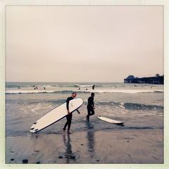 surfers (Janine Graf) Tags: cameraphone ocean california summer beach waves overcast oceanside surfers hipstamatic janine1968 iphone4s janinegraf inas1982film foxylens
