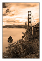 The Golden Gate Bridge (Elvir72) Tags: sanfrancisco city bridge blackandwhite panorama usa america landscape sapia goldenbridge thegoldengatebridge