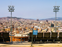 Good Seats (pruse) Tags: world barcelona city travel urban skyline lights spain europe view seat olympic