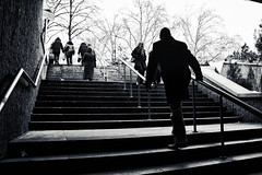 (The New Motive Power) Tags: city trees shadow sky people urban blackandwhite man cold lines silhouette stairs walking subway moody bright sofia steps dramatic bulgaria ascent   canon7d