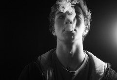 Smoke (Luke-Johnston) Tags: lighting light portrait electric canon circle studio cigarette smoke ghost blowing blow smoking ring tricks rings 365 trick cigarettes hoops milky thick exhale inhale 1000d