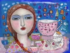 """""""TEA IN THE GARDEN"""" (kitty jujube) Tags: original art mixed media etsy fitzgerald sandi kittyjujube"""