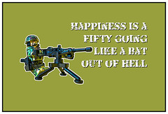 Happiness is a fifty going like a bat out of hell!! (tim constable) Tags: trooper smile training fun soldier army war uniform lego tripod content happiness humour camouflage weapon conflict 50 job gunner grunt gi winning armedforces firing firefight browning specialforces minifigure occupation squaddie heavymachinegun fireteam machinegunner minfig firesupport fiftycal suppressive timconstable batouthell