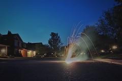 Birthday fireworks. Suburbia Victoria. (beyondhue) Tags: road street urban ontario canada fountain fireworks weekend ottawa victoria explored