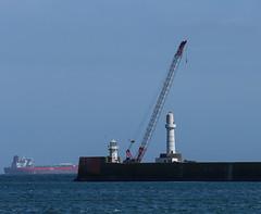 Sun. (HivizPhotography) Tags: blue sea sun scotland boat ship harbour crane entrance aberdeen northsea tanker breakwater
