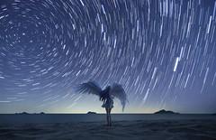 Into the heavenly light (Ateens Chen) Tags: longexposure nightphotography sea portrait people nature canon southchinasea ateens nightportrait polaris startrail tenshi perspectivecontrol tiltshiftphotography scalefigure starrysky goodsmilecompany hyperfocaldistance canontse17mmf4l angelbeats 5dsr