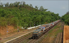Panther RO-RO Train loaded with 50 trucks Skipping through Zarap station on Konkan Railway route. (Omkar Sawant) Tags: railroad train railway trucks panther roro konkan zarap kudal wdg4