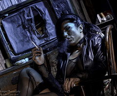 Smoking hot (johnhontai) Tags: nottingham tv chair nikon smoking d750 sat kasia leathercoat longblackhair kempophotography