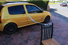 182 Driver's Belt Cleaning 3 (AcidicDavey) Tags: yellow clio renault liquid 182