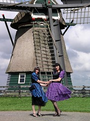 Friends in dresses (Paula Satijn) Tags: blue friends holland mill netherlands windmill girl beauty dutch shiny dress purple cd silk sunny skirt tgirl tc gown satin gurl
