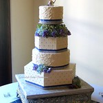 Elegant Ivory Wedding Cake with Periwinkle Blue and Silver thumbnail