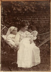 Unknown lady with baby John Hook and another unknown baby, ca 1908 (whatsthatpicture) Tags: portrait baby album hook edwardian publicdomain