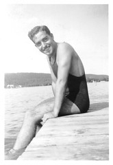 Rogelio Alberto Casas in Swim Suit on Pier - Probably New Jersey c. 1942 - Rogelio Alberto Casas Photo Scan.BMP (Maine Transplant) Tags: wwii ww2