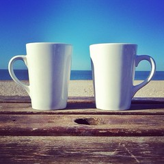 Coffee for Two (mrssandsy) Tags: sea sky beach coffee bench cups beatniks eastsussex seaford iphoneography ebphoto