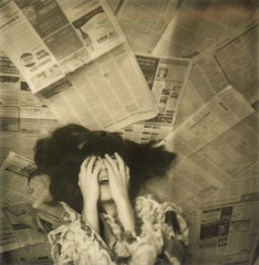 Myself [Polaroid] (RachelMarieSmith) Tags: portrait selfportrait sepia polaroid photography 600 instant painful 600film silvershade impossibleproject rachelmariesmith
