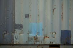 twee blauwe golfjes (Birgit Speulman) Tags: door blue iron blauw deur ijzer loods golfplaat heavenlyblue hemelsblauw