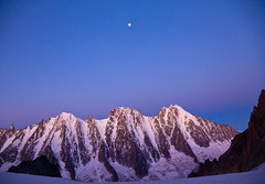Moon over the Argentire bassen (Ulrik Hasemann) Tags: summer france mountains august glacier climbing alpine chamonix 2012 alpinism argentire