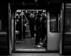 Underground (pandawizard) Tags: street people urban blackandwhite bw london train underground pentax candid gritty ist ds2 matchpointwinner