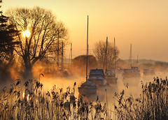 .............. (Chrisconphoto) Tags: trees mist water boats dawn dorset wareham goodlight