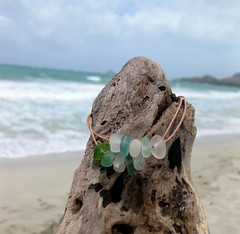 IMG_7577 (LindseysBeachGlass) Tags: blue sea white green beach glass colors leather silver hawaii wire aqua handmade teal jewelry clear bracelet hawaiian earrings seaglass rarecolor olibe