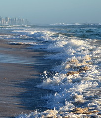 Ad Infinitum (blue foot) Tags: city blue sea beach nature water sand surf waves australia foam the4elements