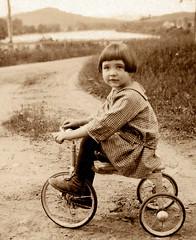 Rachel on Tricycle, Dummer, New Hampshire, about 1927 (JFGryphon) Tags: dummer tricycle newhampshire 1927 rachelholt racheljewett