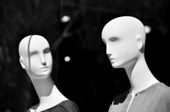 Silent Discussion (MagArtist) Tags: california blackandwhite bw mannequin window fashion statue shopping clothing display bokeh fashionisland storefront dining orangecounty statuary sclupture coronadelmar blinkagain