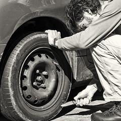 Day 186 (Michael Rozycki) Tags: slash portrait car self canon project flat personal knife tire down step 7d let tyre 1755