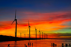 Koamei Wetland  (Vincent_Ting) Tags: sunset sky water windmill silhouette clouds taiwan  formosa   windturbine wetland